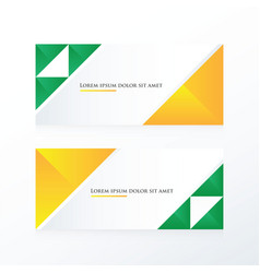 Yellow green triangle banner vector