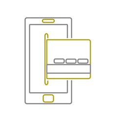 yellow line smartphone technology with digital vector image