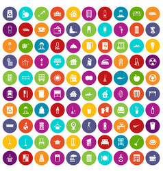 100 cleaning icons set color vector image