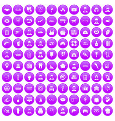 100 favorite work icons set purple vector image