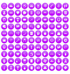 100 gambling icons set purple vector