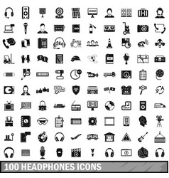 100 headphones icons set simple style vector image vector image