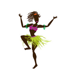 A young african girl in an ethnic bright costume vector
