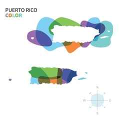 Abstract color map of Puerto Rico vector image