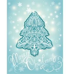 Abstract fir tree - floral lace ornament vector