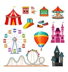 Amusement Park Colorful Objects Set vector image