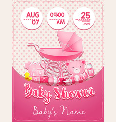 baby shower girl invitation template with toys vector image