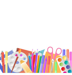back to school school supplies for teaching and vector image