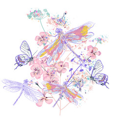 beautiful flowers and dragonflies t-shirt print vector image