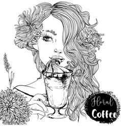 beautiful girl with coffee cup vector image