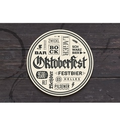 Beverage coaster with lettering for Oktoberfest vector