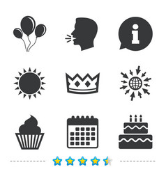birthday party icons cake and cupcake symbol vector image