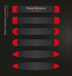 black banner sticker with red left and right tips vector image