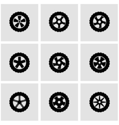 black wheel icon set vector image