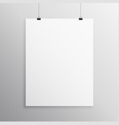 blank flyer mockup template hanging with clip vector image