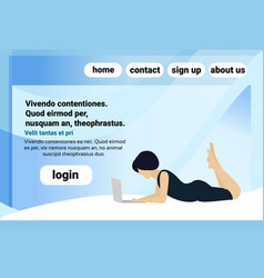 brunette woman using laptop lying pose faceless vector image