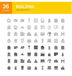 Building line web glyph icons vector