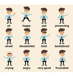 Businessman emotions set vector image