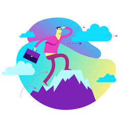 Businessman stands on top success mountain vector
