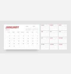 Calendar template for 2022 with week start vector