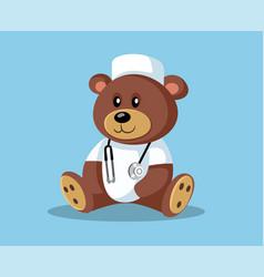 Cartoon doctor teddy bear with stethoscope vector