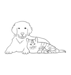 Cat and dog line art 12 vector