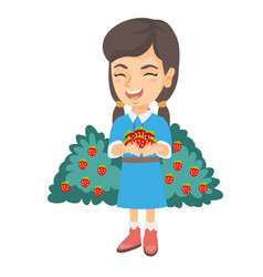 caucasian girl holding fresh strawberries in hands vector image