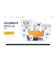 Celebrate with us our 10k followers concept vector