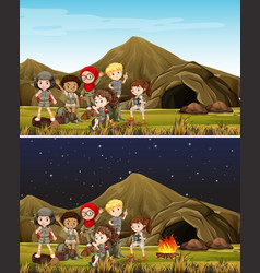 Children camping in mountain day and night vector