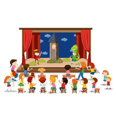Children play drama on stage vector