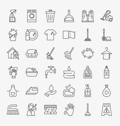 Cleaning services line icons set vector