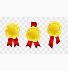 collection golden wax seal with red ribbon vector image