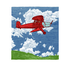 color drawing airplane stylized as engraving vector image