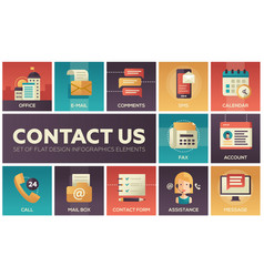 Contact us - modern flat design icons set vector