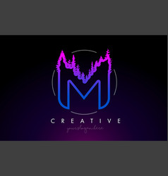 Creative m letter logo idea with pine forest vector