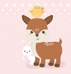 cute fawn and rabbit with chick animals farm vector image