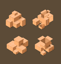 Delivery packaging boxes isometric icons set vector