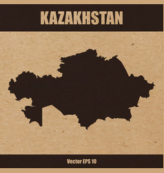 Detailed map of kazakhstan on craft paper vector