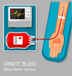 Donate blood donor service medical and healthcare vector