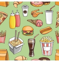 Doodle pattern fast food vector