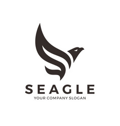 eagle falcon bird logo design with letter s vector image