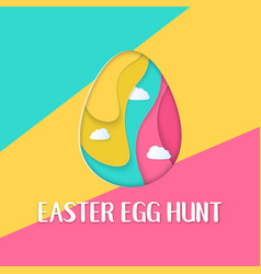 easter egg hunt banner with a lettering and clouds vector image
