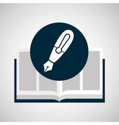 Education opened book pen writing vector