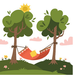 empty red summer hammock with trees vector image