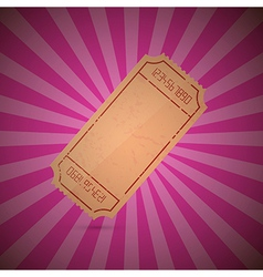 Empty Ticket on Retro Pink Background vector image