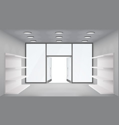 Empty trade shelves store interior open doors 3d vector