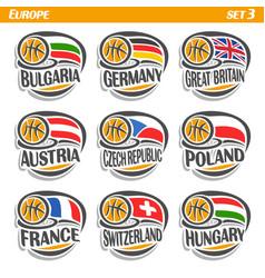 flags european national basketball teams vector image