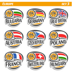 flags of european national basketball teams vector image