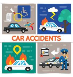 flat road accident square composition vector image