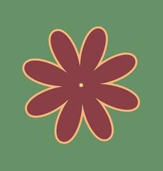 Flower sign cordovan icon vector